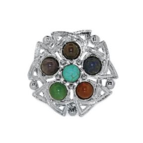 Celtic Brooch with Six Colour Stones 1039